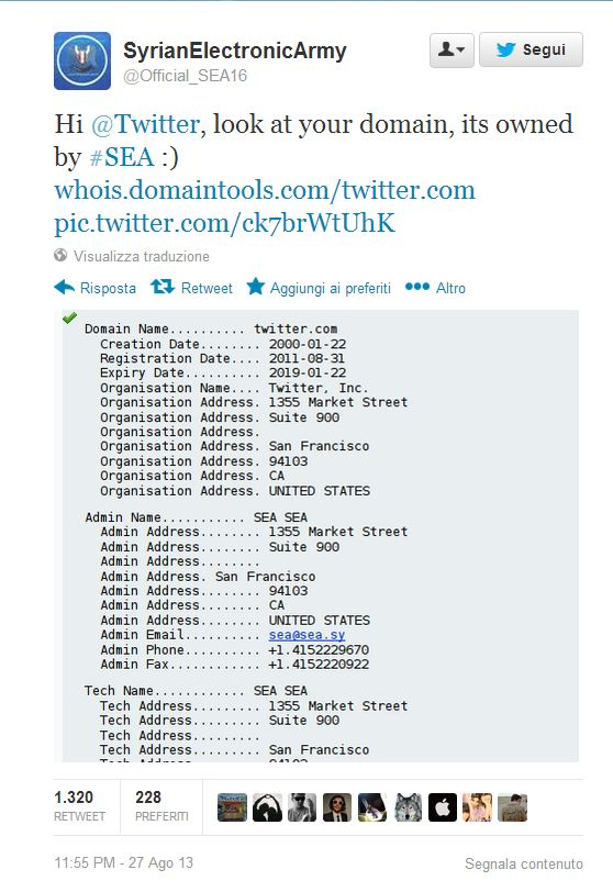 Syrian Electronic Army Twitter DNS record