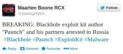 Blackhole author arrested
