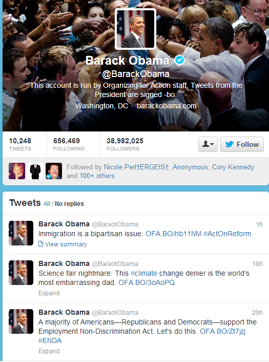 ' ' from the web at 'http://securityaffairs.co/wordpress/wp-content/uploads/2013/10/obama-twitter-hacked.png'