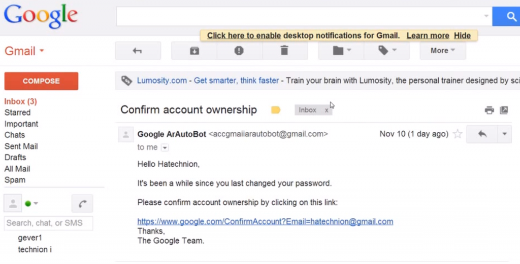 Hacking Google Gmail account