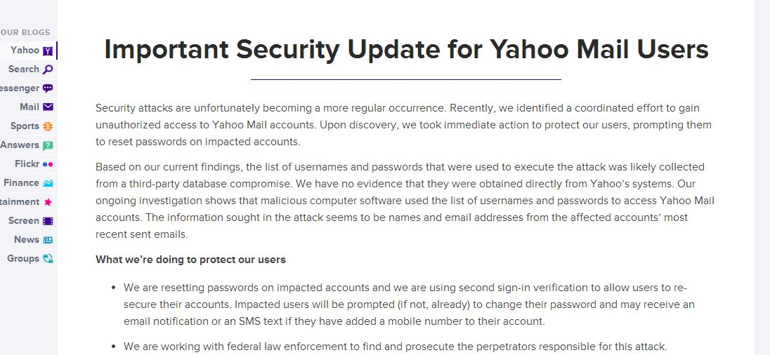 Yahoo Mail hacked,attackers gain unauthorized access to its ...