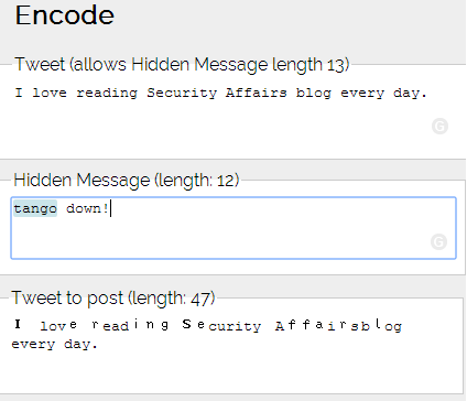 Steganography Twitter hiden messages