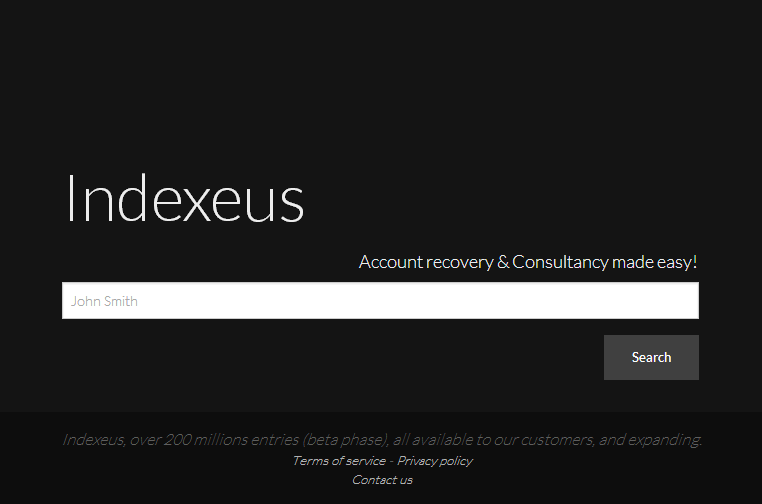 Indexeus search engine