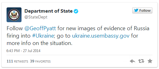 Ukraine Russia war Department of State Tweet