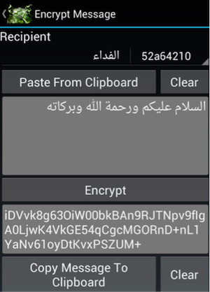 Al-Qaeda Android app encryption