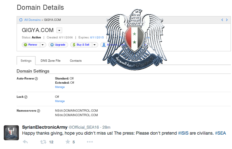 Syrian Electronic Army gigya hacked by SEA
