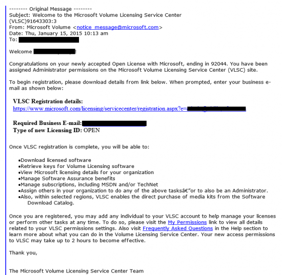 Microsoft Licensing email