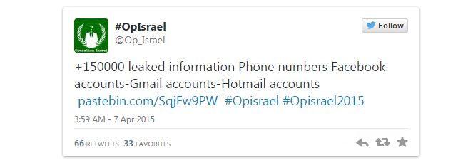 Anonymous collective hit Israel as part of opIsrael 2015