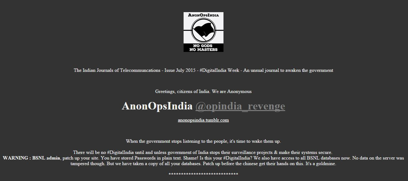 Anonymous India hacked BSNL website and compromised more than 30 Million records