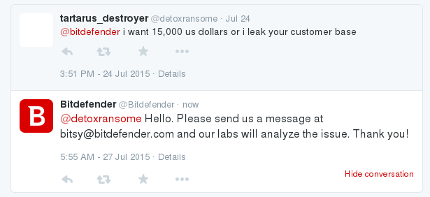 Bitdefender Hacked, customer data being sold In the underground