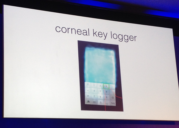 corneal key logging selfie PIN extract biometrics