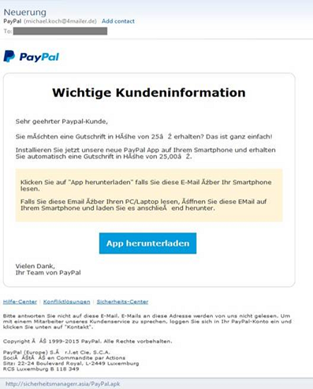 Bogus PayPal App used to spread a banking Trojan