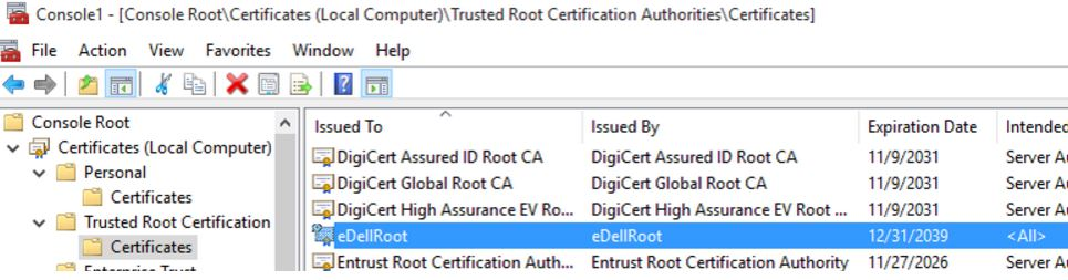 eDellRoot certificate