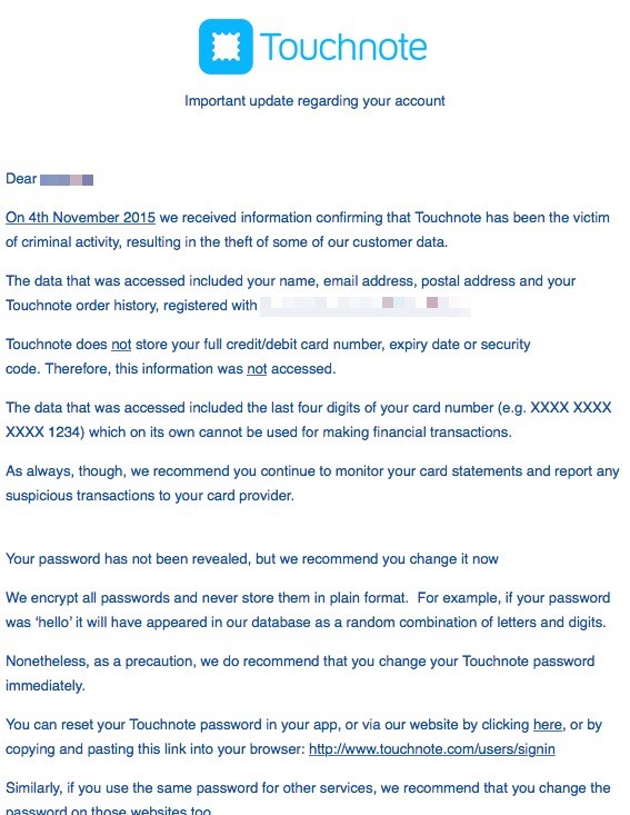 touchnote email