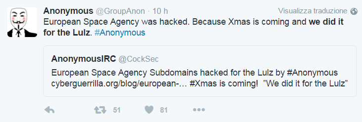 Anonymous hacked European Space Agency