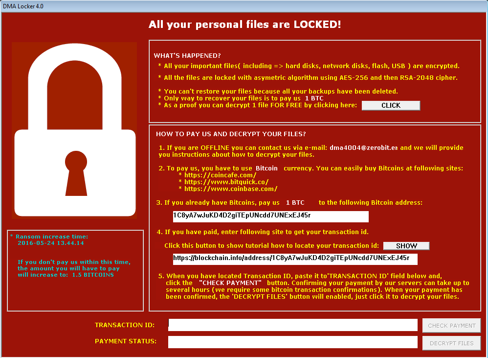 DMA Locker Ransomware has been significantly improved