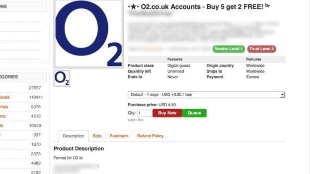Hackers are offering for sale O2 customer data on the dark web