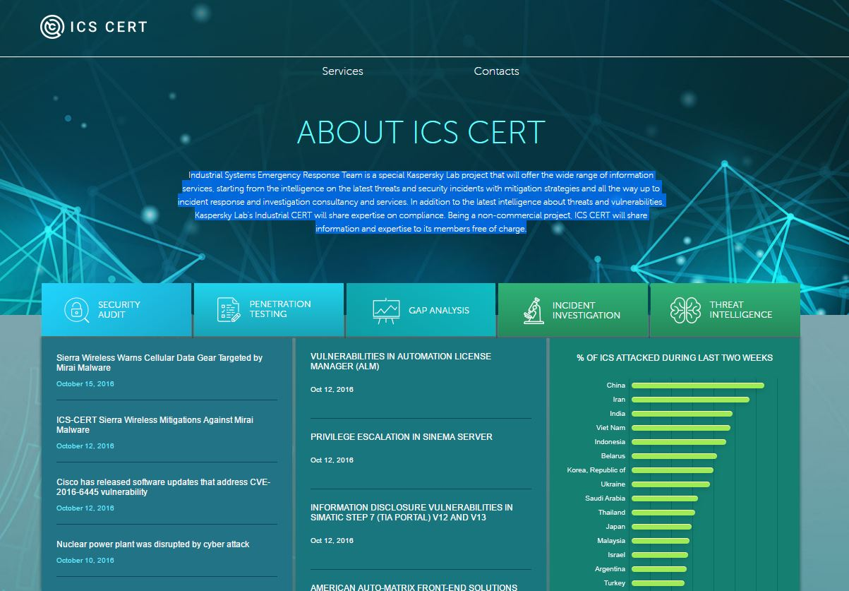 Kaspersky Lab launched the new Lab ICS-CERT