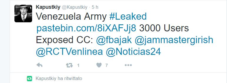 Kapustkiy hacked a website belonging to the Venezuela Army