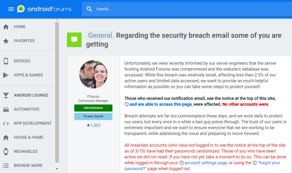 Data breach – Are you an Android Forums user? Resets your passwords now.