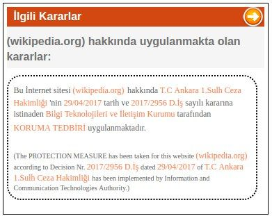 Turkey banned Wikipedia because its content web contents that represents a threat to national security