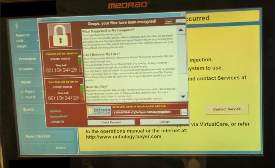 Medical Devices infected by WannaCry Ransomware in US hospitals