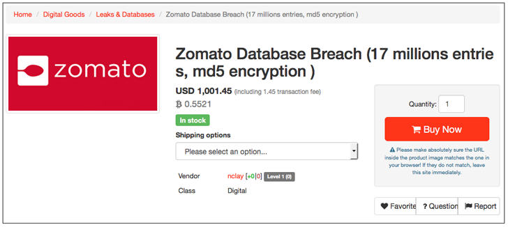 Zomato Data breach – Nearly 17 million usernames and hashed passwords stolen
