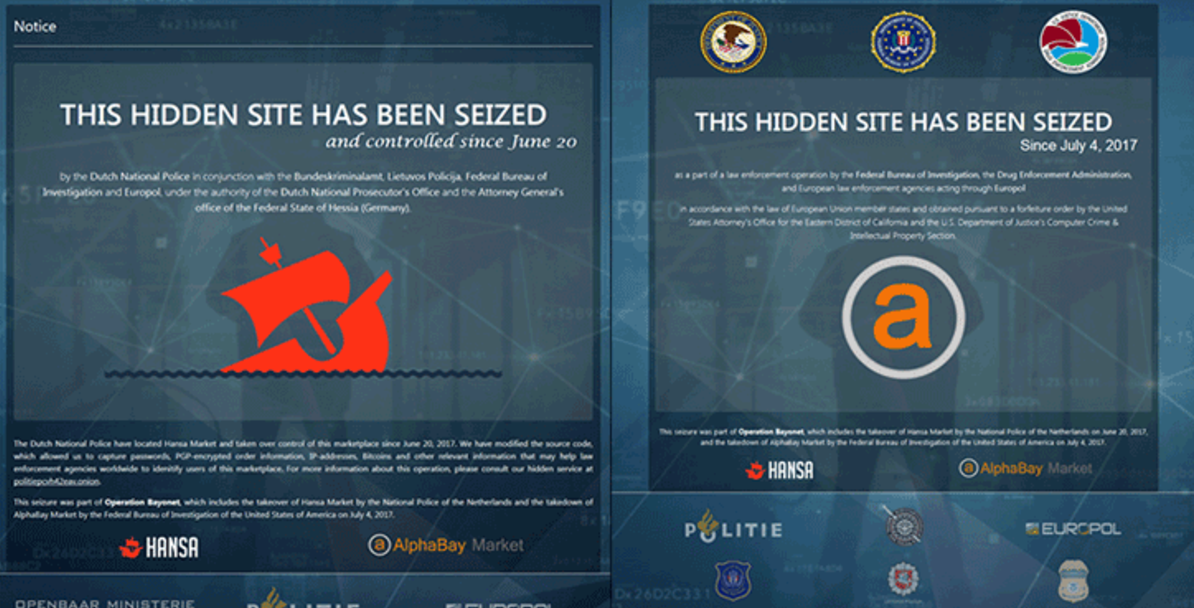 Huge blow to the criminal underground in the dark web, authorities shut down AlphaBay and Hansa black marketplaces