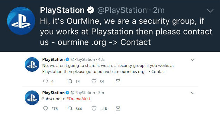 Ourmine hacked PlayStation Social Media Accounts to announce the theft of PSN Database