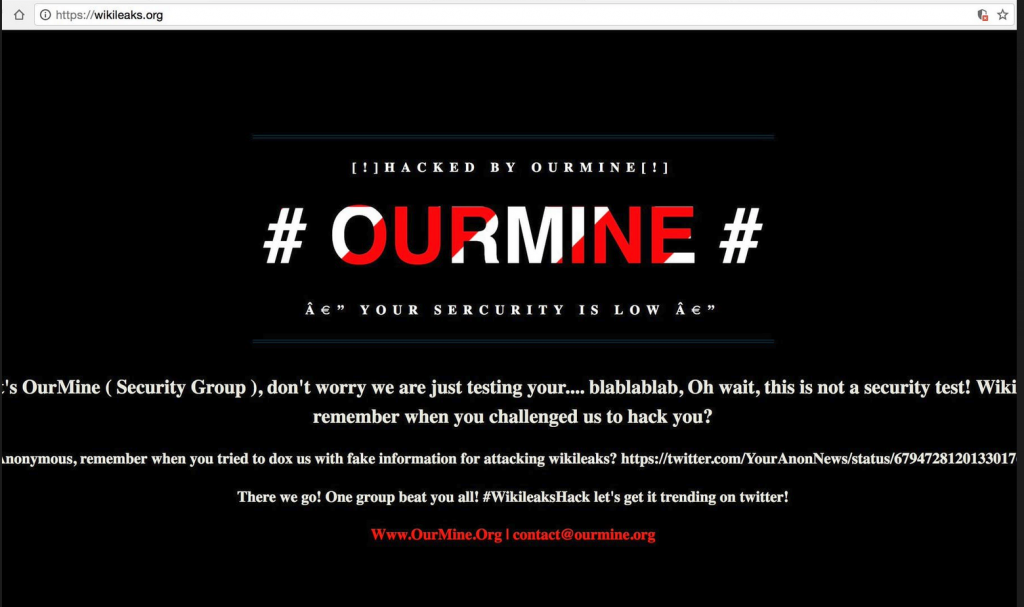 The OurMine hacker group defaced WikiLeaks website with a DNS redirect