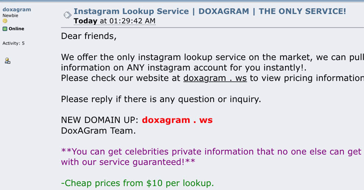6 Million Celebrities Instagram High-Profiles Data available for sale on DoxaGram