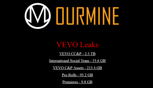 OurMine hacked Vevo and leaked 3.12 TB internal files, then delete them