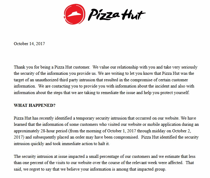 Pizza Hut notifies card breach while users have already reported fraudulent transactions