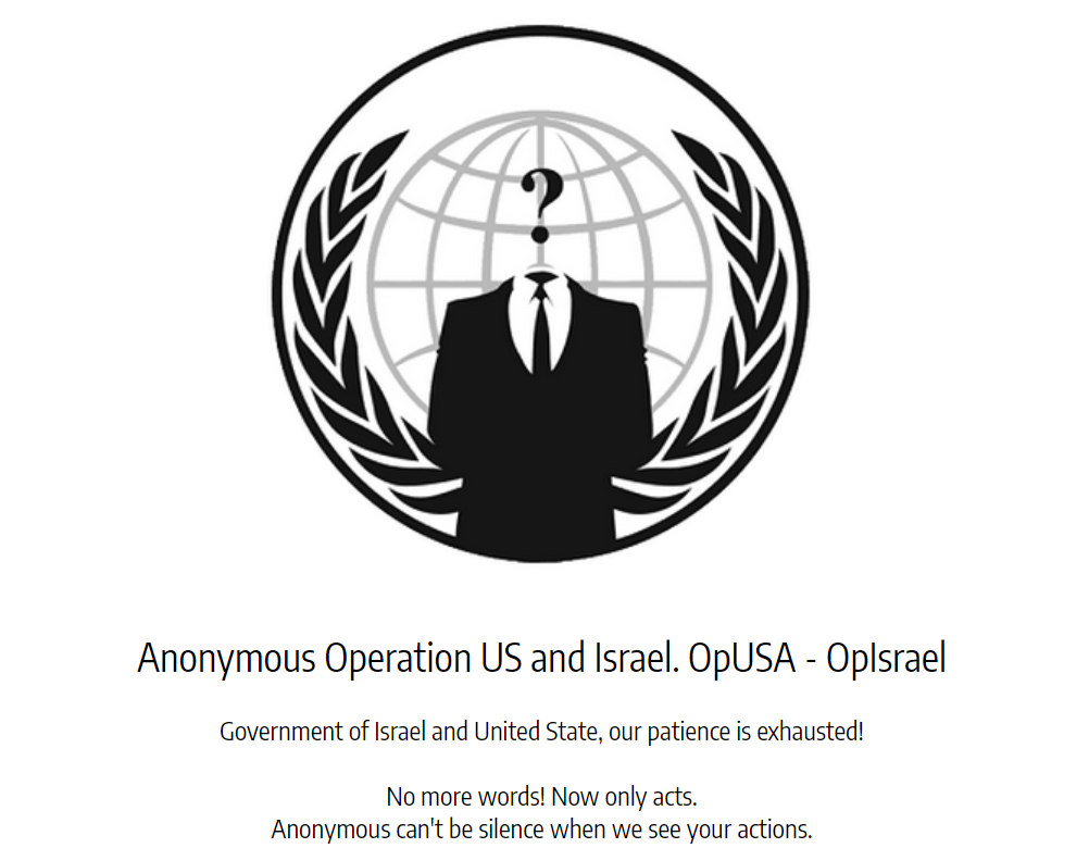 #OpUSA – OpIsrael – Anonymous hit Israel and threatens cyberattack on US Govt