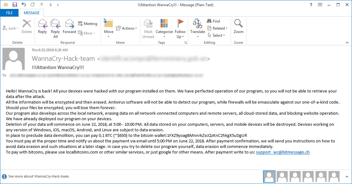 WannaSpam – Beware messages from WannaCry-Hack-Team, it is the last hoax