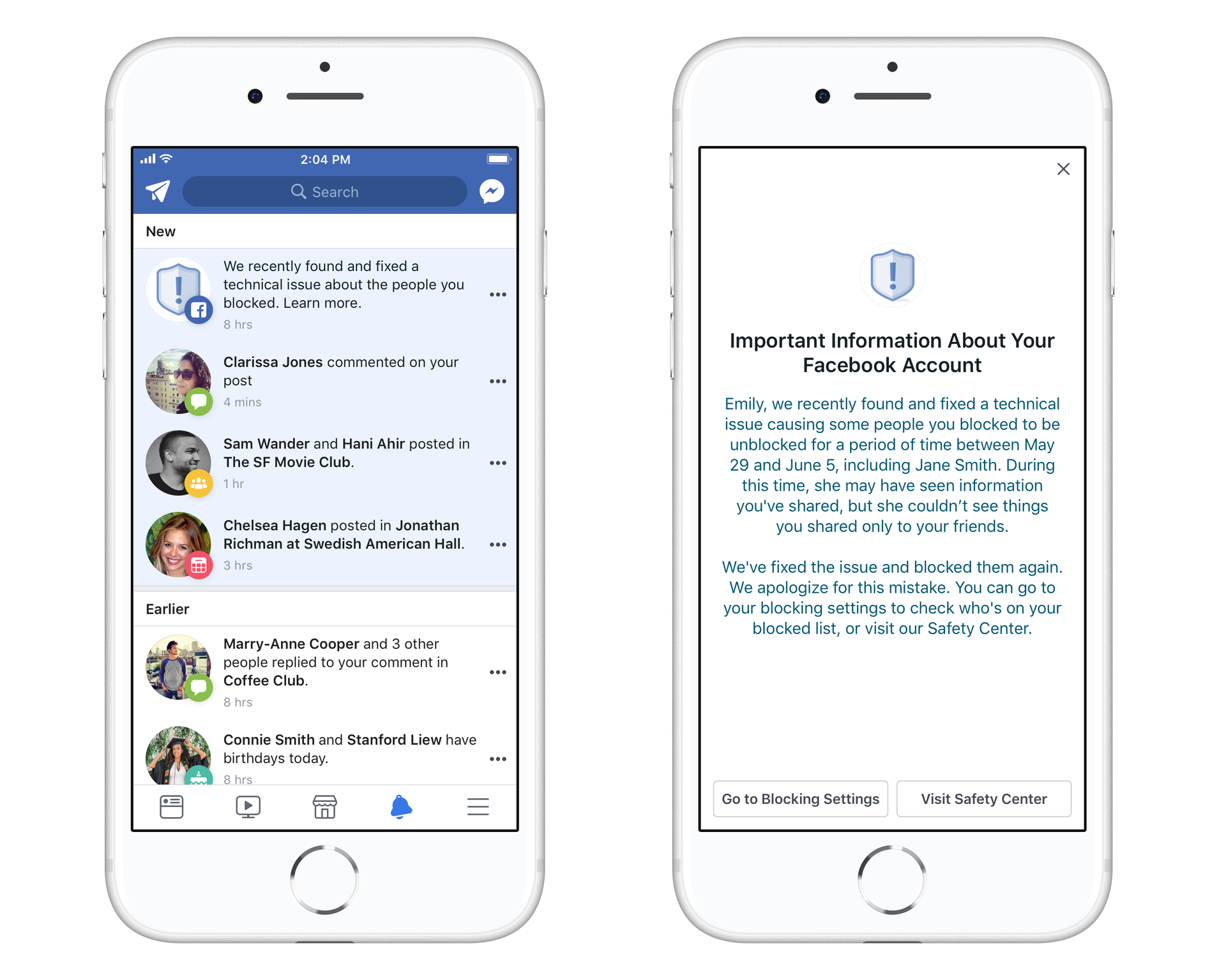 Facebook is notifying 800,000 users affected by a blocking bug