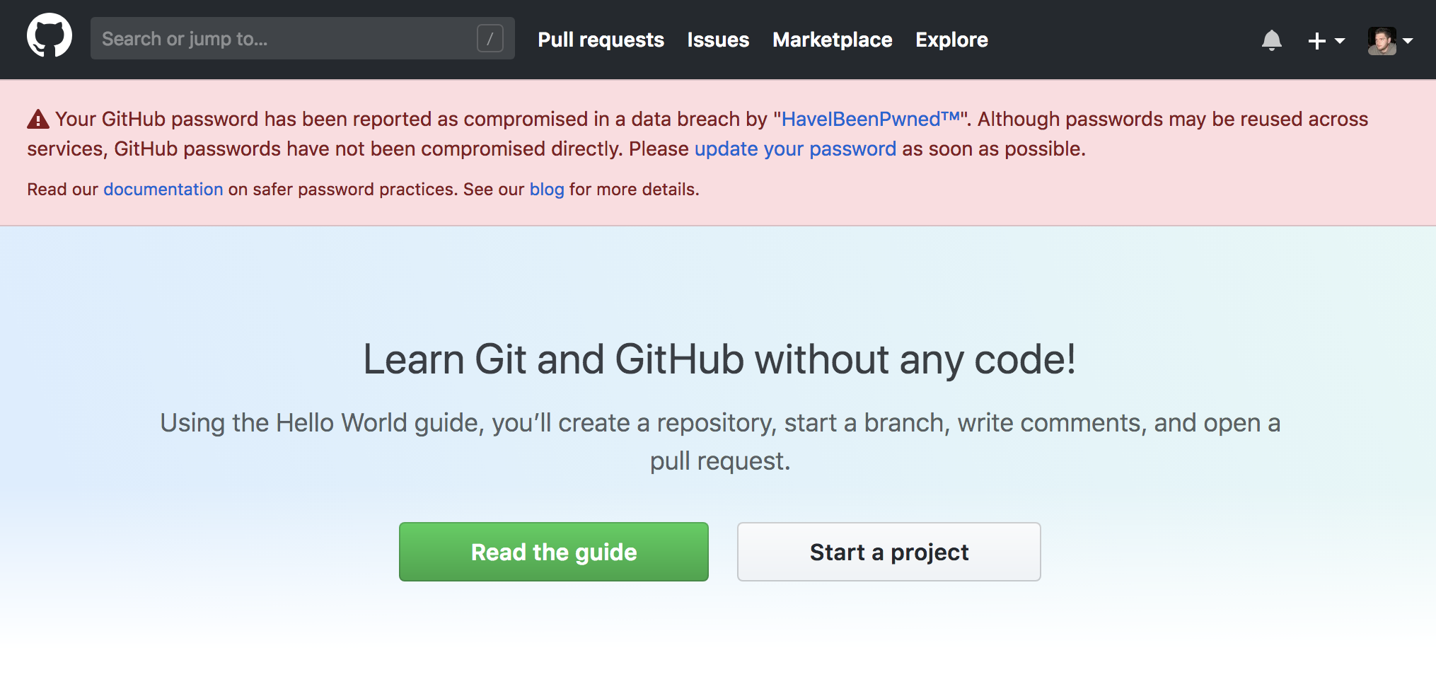 GitHub started warning users when adopting compromised credentials