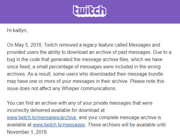 Twitch bug may have exposed some users messages to others