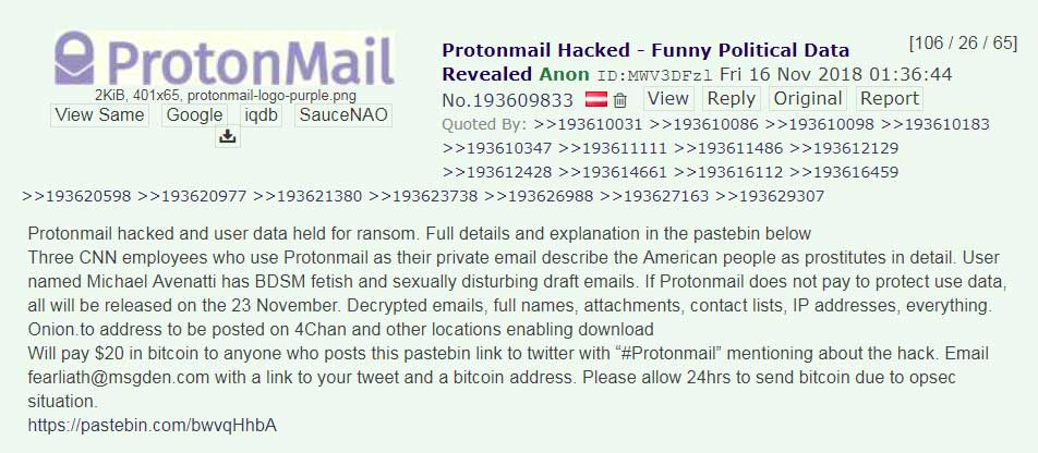 Protonmail hacked …. a very strange scam attempt