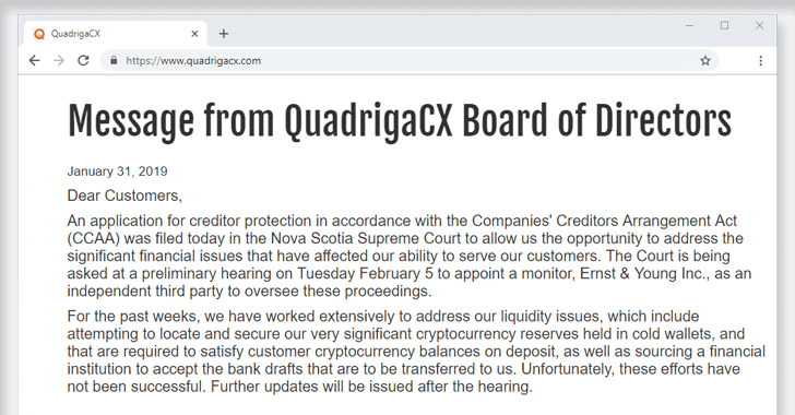 QuadrigaCX exchange lost access to $145 Million funds after founder dies