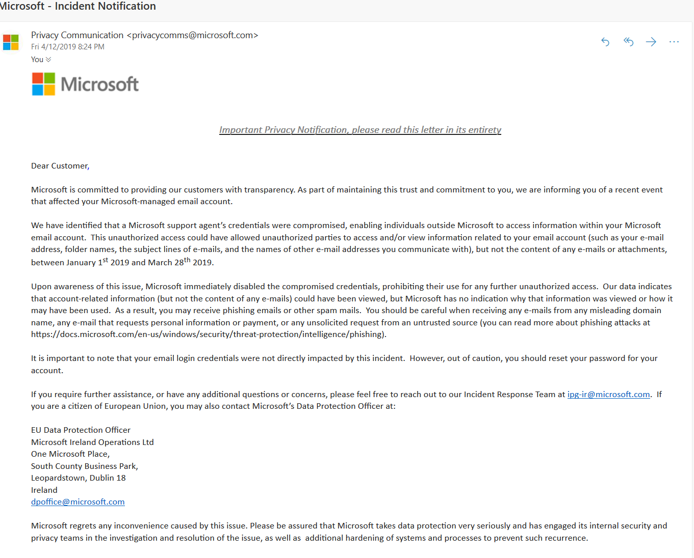 Attackers hacked support agent to access Microsoft Outlook email accounts
