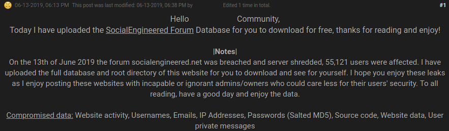 SocialEngineered forum hacked and data leaked online
