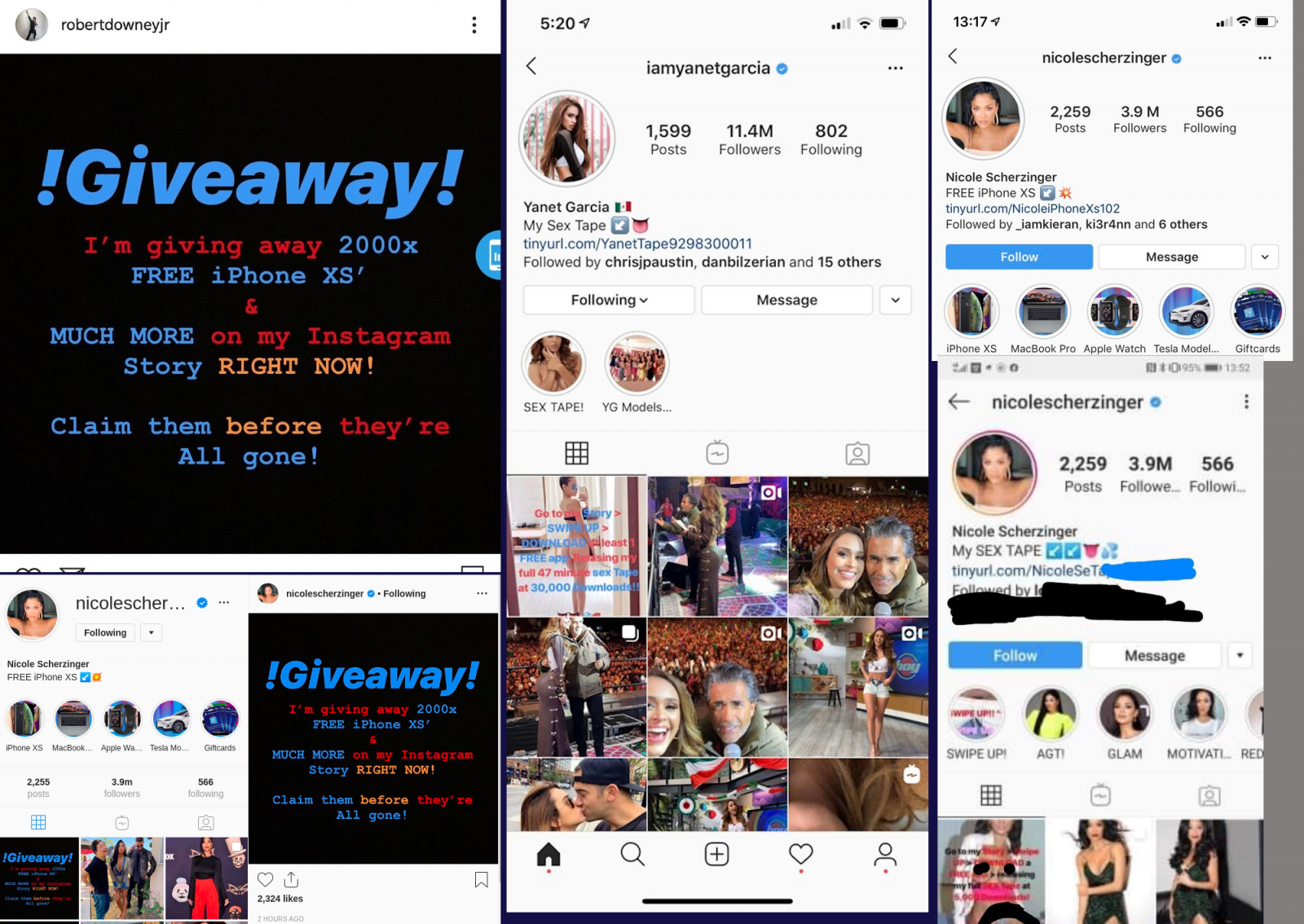 Crooks hacked other celebrity Instagram accounts to push scams