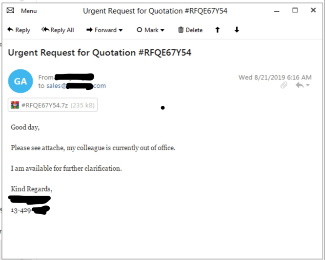 LokiBot info stealer involved in a targeted attack on a US Company