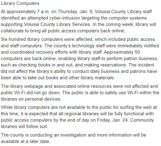 Malware attack took down 600 computers at Volusia County Public Library