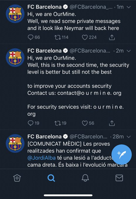 FC Barcelona and the International Olympic Committee Twitter accounts hacked