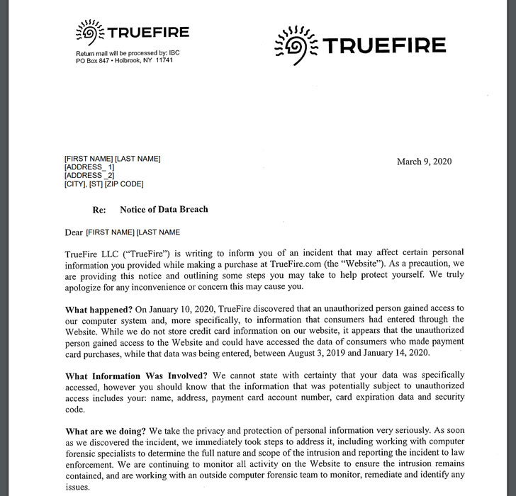 TrueFire Guitar tutoring website was hacked, financial data might have been exposed