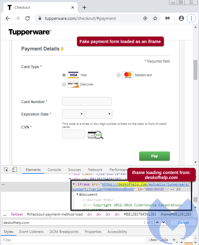 Tupperware website has been compromised with a payment card skimmer