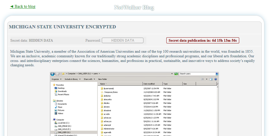NetWalker ransomware gang threatens to release Michigan State University files