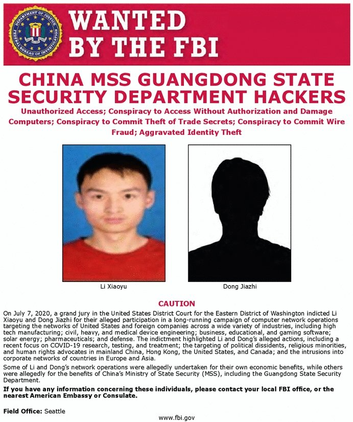 US DoJ charged two Chinese hackers working with MSS